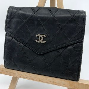 Chanel Quilted Black Leather bifold flap wallet